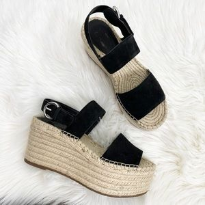 Marc Fisher Black Renni Espadrille Platform Wedges
